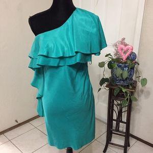 Halston Heritage Flowy Draped One-Shoulder Dress